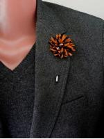 "Цветок в лацкан пиджака ""Orange / Navy"""