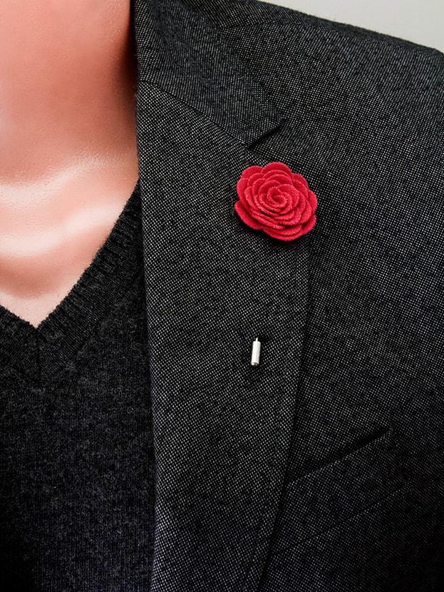 """Цветок в лацкан пиджака """"Big Red"""""""